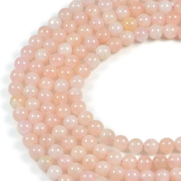 Semi-Precious Natural Morganite 6mm Round Gemstone Jewellery Making Beads On 15.5 Inch Strand