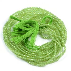 Semi Precious Micro Faceted Green Peridot 2-2.5mm Gemstone Rondelle beads On 13 Inch Strand