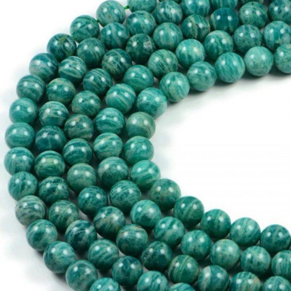 Semi-Precious Natural Russian Amazonite 10mm Round Gemstone Jewellery Making Beads On 16 Inch Strand