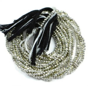 Semi Precious Micro Faceted Silver Pyrite 2-2.5mm Gemstone Rondelle beads On 13 Inch Strand