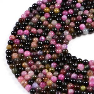 Semi-Precious Natural Multicolour Tourmaline 6mm Round Gemstone Jewellery Making Beads On 15.5 Inch Strand