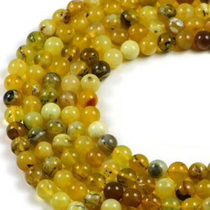 Semi-Precious Natural Yellow Opal 8mm Round Gemstone Jewellery Making Beads On 15 Inch Strand