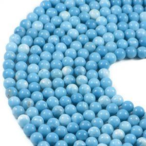 "Semi-Precious Natural Larimar Quartz Round Gemstone Jewellery Making Beads 15""-4mm 6mm 7mm 8mm"