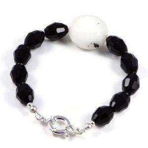 "Semi-Precious Gemstone Black Onyx -Agate Beads 8"" Luxury Handmade Women's Bracelet"