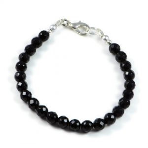"Semi-Precious Gemstone 6mm Black Onyx Faceted Round Beads 7.75"" Luxury Handmade Women's Bracelet"