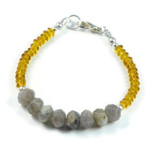 "Semi-Precious Gemstone Natural Labradorite-Citrine Faceted Beads 7.5"" Luxury Handmade Women's Bracelet"