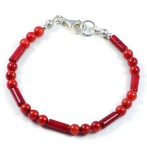 "Semi-Precious Gemstone 5mm Red Coral Beads 7.5"" Luxury Handmade Women's Bracelet"