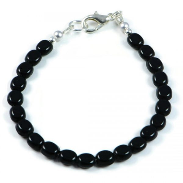 "Semi-Precious Gemstone 6mm Black Agate Beads 7.75"" Luxury Handmade Women's Bracelet"