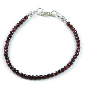 Semi-Precious Gemstone 4mm Natural Garnet Round Beads 7.5 inch Luxury Handmade Women's Bracelet