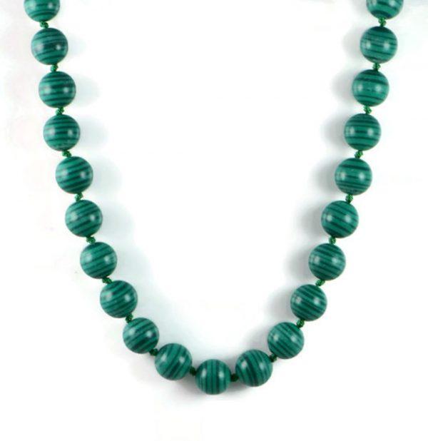 "Semi-Precious Gemstone14mm Malachite Round Beads 19.5"" Luxury Hand-Knotted Women's Necklace"