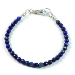 "Semi-Precious Gemstone 4mm Lapis Lazuli Faceted Round Beads 7.25"" Luxury Handmade Women's Bracelet"