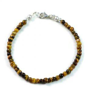 "Semi-Precious Gemstone 4mm Tiger Eye Faceted Round Beads 7.25"" Luxury Handmade Women's Bracelet"