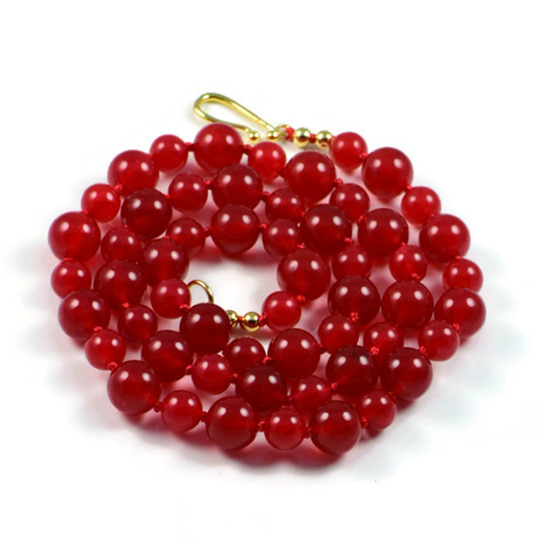 """Semi-Precious Gemstone 6-8mm Red Jade Beads 24"""" Luxury Hand-Knotted Women's Necklace"""