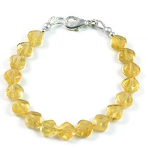 "Semi-Precious Gemstone 8mm Natural Citrine Beads 7.5"" Luxury Handmade Women's Bracelet"