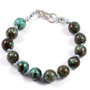 """Semi-Precious Gemstone 9mm Turquoise Beads 7.5"""" Hand-Knotted Women's Bracelet with 100% Silk Thread"""