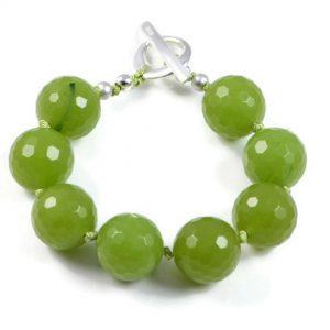 "Semi-Precious Gemstone 12mm Jade Beads 6.75"" Hand-Knotted Women's Bracelet with 100% Silk Thread"