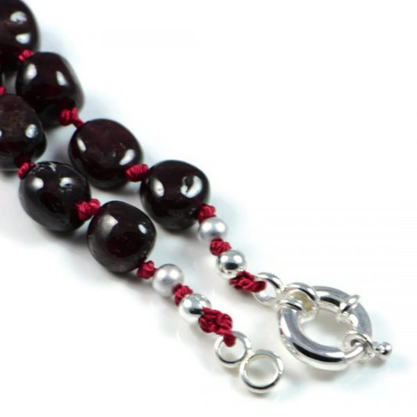 "Semi-Precious Gemstone 8-12mm Natural Garnet Round Beads 16.75"" Hand-Knotted Women's Necklace with 100% Silk Thread"