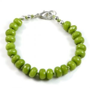 "Semi-Precious Gemstone 8x5mm Green Jade Beads 7.25"" Hand-Knotted Women's Bracelet with 100% Silk Thread"