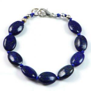 "Semi-Precious Gemstone 13x10mm Lapis Lazuly Beads 7.5"" Hand-Knotted Women's Bracelet with 100% Silk Thread"