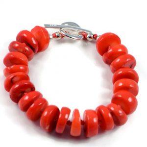 "Semi-Precious Gemstone 12x5mm Orange Coral Beads 7.25"" Hand-Knotted Women's Bracelet with 100% Silk Thread"