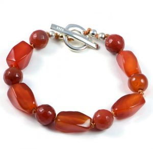 "Semi-Precious Gemstone 9-16mm Orange Agate Beads 7.5"" Hand-Knotted Women's Bracelet with 100% Silk Thread"