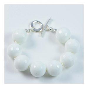 "Semi-Precious Gemstone 16mm White Onyx Beads 7"" Hand-Knotted Women's Bracelet with 100% Silk Thread"