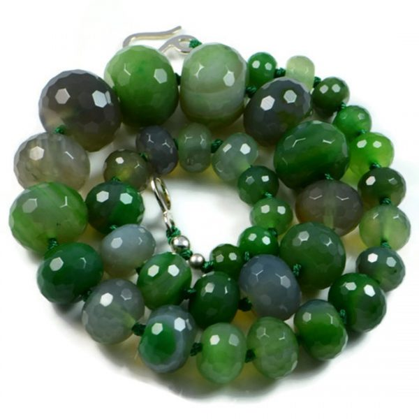 """Semi-Precious Gemstone 6-20mm Agate Beads 20"""" Hand-Knotted Women's Necklace"""