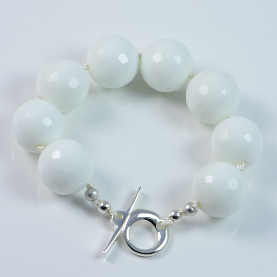 "Semi-Precious Gemstone 16mm White Onyx Beads 7"" Hand-Knotted Women's Bracelet with 100% Silk Thread"