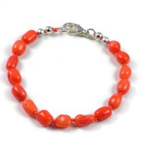 "Semi-Precious Gemstone 9-10mm Orange Coral Beads 7"" Hand-Knotted Women's Bracelet with 100% Silk Thread"