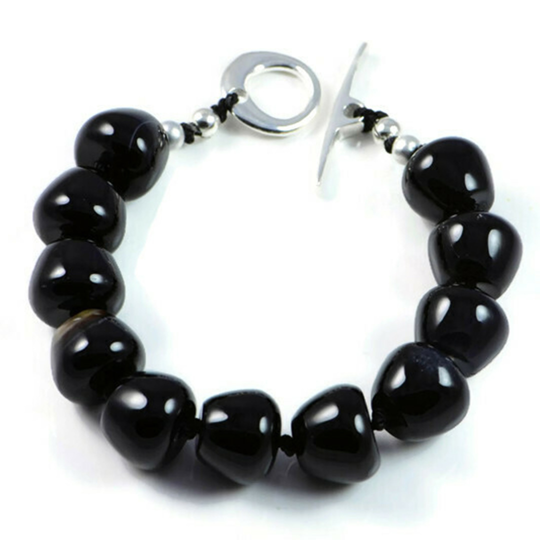 "Semi-Precious Gemstone 10x12mm Black Agate Beads 6.76"" Hand-Knotted Women's Bracelet with 100% Silk Thread"