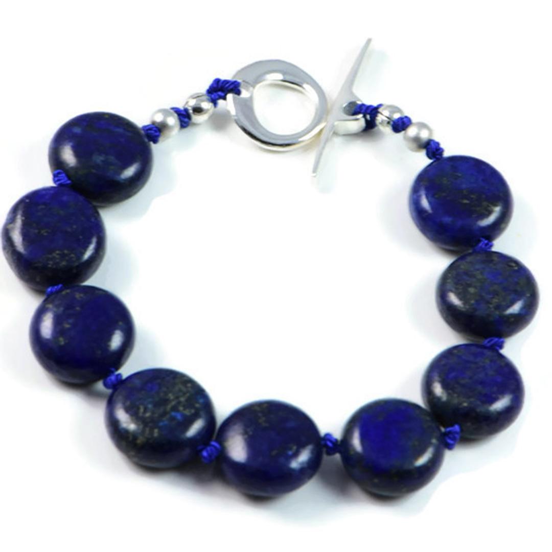 "Semi-Precious Gemstone 13mm Lapis Lazuli Beads 7.25"" Hand-Knotted Women's Bracelet with 100% Silk Thread"