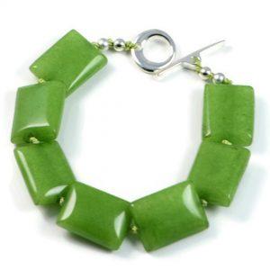 "Semi-Precious Gemstone 15x20mm Jade Beads 7.5"" Hand-Knotted Women's Bracelet with 100% Silk Thread"