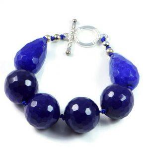 "Semi-Precious Gemstone 18mm Blue Jade Beads 7"" Hand-Knotted Women's Bracelet with 100% Silk Thread"