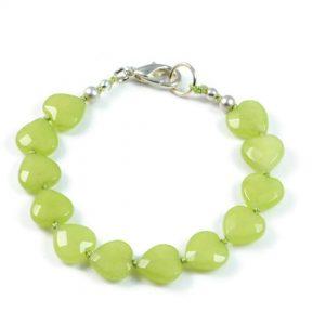 "Semi-Precious Gemstone 10mm Olive Jade Beads 6.75"" Hand-Knotted Women's Bracelet with 100% Silk Thread"