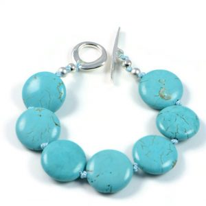 """Semi-Precious Gemstone 16mm Turquoise Beads 6.5"""" Hand-Knotted Women's Bracelet with 100% Silk Thread"""