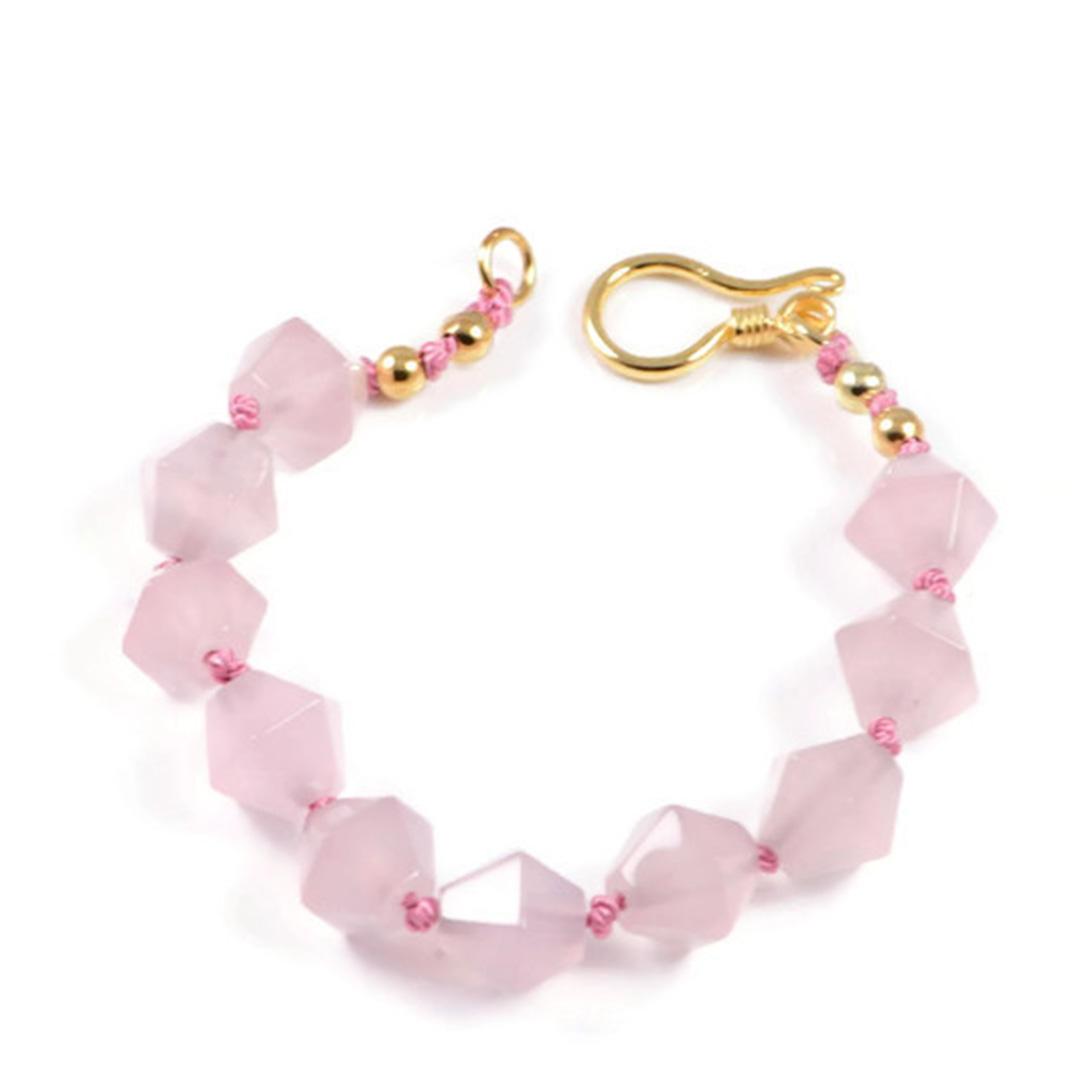 "Semi-Precious Gemstone 10mm Rose Quartz Beads 7"" Hand-Knotted Women's Bracelet with 100% Silk Thread"