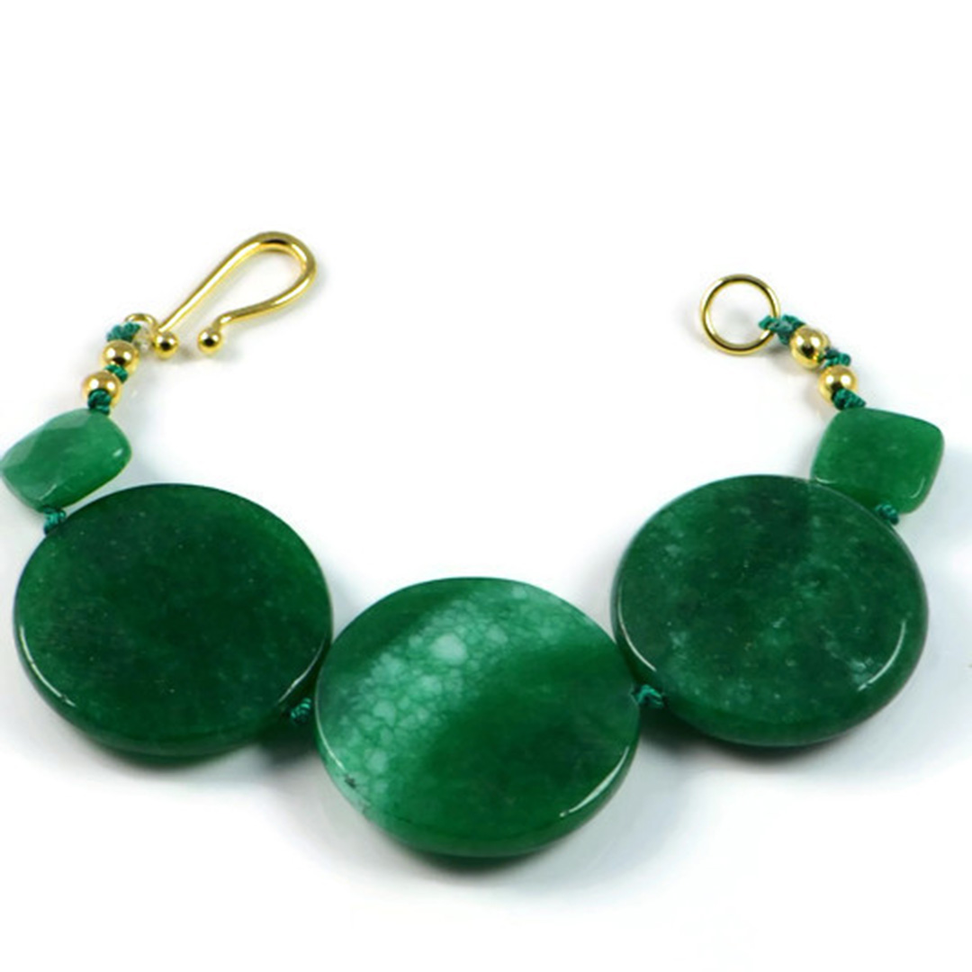 """Semi-Precious Gemstone 30mm Green Agate Beads 7"""" Hand-Knotted Women's Bracelet with 100% Silk Thread"""