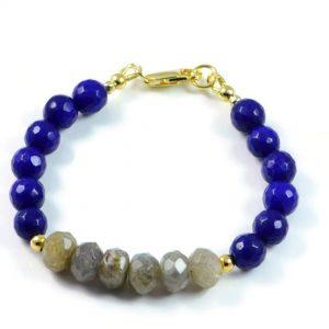 "Semi-Precious Gemstone Labradorite-Blue Jade Beads 7.25"" Hand-Knotted Women's Bracelet with 100% Silk Thread"