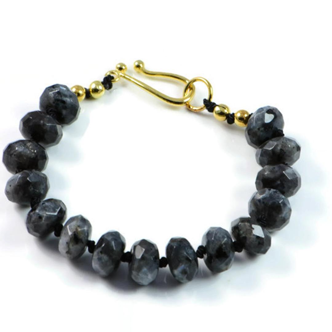"Semi-Precious Gemstone 10x6mm Black Labradorite Beads 7"" Hand-Knotted Women's Bracelet with 100% Silk Thread"