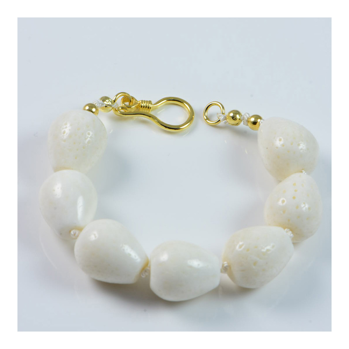 """Semi-Precious Gemstone White Coral Beads 7"""" Hand-Knotted Women's Bracelet with 100% Silk Thread"""
