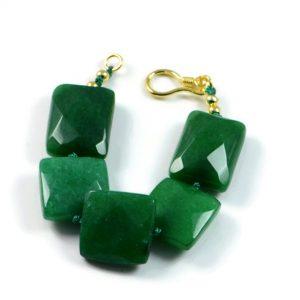 "Semi-Precious Gemstone Green Agate Beads 6.75"" Hand-Knotted Women's Bracelet with 100% Silk Thread"