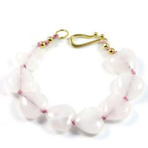 "Semi-Precious Gemstone Rose Quartz Beads 7.5"" Hand-Knotted Women's Bracelet with 100% Silk Thread"