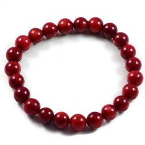 "Semi-Precious Gemstone 8mm Red Coral Beads 7.25"" Stretch Bracelet on Elastic Cord"