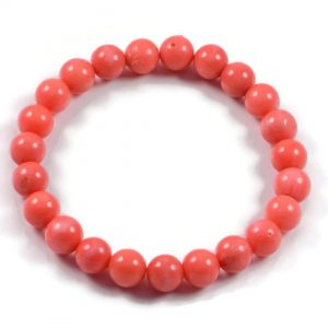 "Semi-Precious Gemstone 8mm Orange Coral Beads 7"" Stretch Bracelet on Elastic Cord"