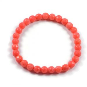 "Semi-Precious Gemstone 6mm Orange Coral Beads 6.75"" Stretch Bracelet on Elastic Cord"