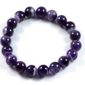 """Semi-Precious Gemstone 10mm Amethyst Beads 7.5"""" Stretch Bracelet on Elastic Cord"""