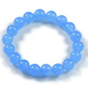 "Semi-Precious Gemstone 10mm Aquamarine Beads 7"" Stretch Bracelet on Elastic Cord"