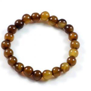 "Semi-Precious Gemstone 8mm Brown Agate Beads 6.75"" Stretch Bracelet on Elastic Cord"