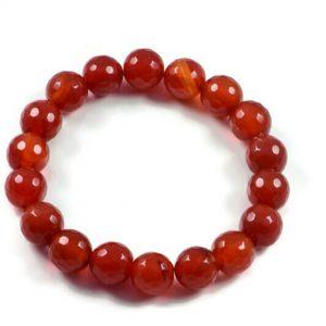 "Semi-Precious Gemstone 10mm Orang Agate Beads 6.75"" Stretch Bracelet on Elastic Cord"