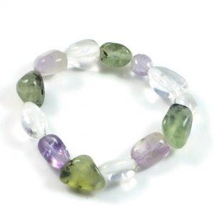 "Semi-Precious Gemstone Mix Stone Beads 6.75"" Stretch Bracelet on Elastic Cord"